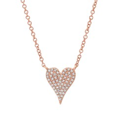 Madison E 0.11ct 14k Rose Gold Diamond Pave Heart Necklace