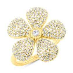 Madison E 0.65ct 14k Yellow Gold Diamond Pave Flower Ring
