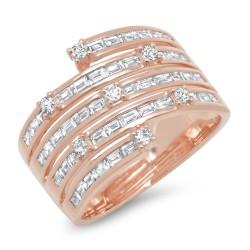 Madison E 1.10ct 14k Rose Gold Diamond Baguette Lady