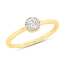 Madison E 0.20ct Round Brilliant Center and 0.05ct Side 14k Yellow Gold Diamond Lady