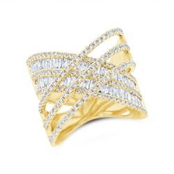 Madison E 1.77ct 14k Yellow Gold Diamond Baguette Ring