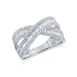 Madison E 1.15ct 14k White Gold Diamond Baguette Ring
