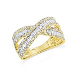 Madison E 1.15ct 14k Yellow Gold Diamond Baguette Ring