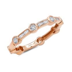 Madison E 0.28ct 14k Rose Gold Diamond Baguette Ring