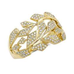 Madison E 0.33ct 14k Yellow Gold Diamond Pave Leaf Ring