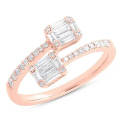 Madison E 0.49ct 14k Rose Gold Diamond Baguette Ring