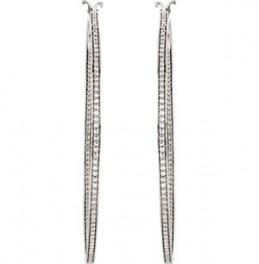 Sterling Silver Cubic Zirconia Inside/Outside Hoop Earrings