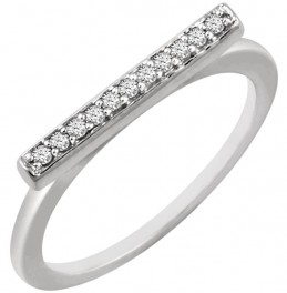 14kt White 1/10 CTW Diamond Bar Ring