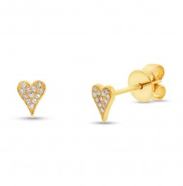 Maddison E 0.05ct 14k Yellow Gold Diamond Pave Heart Earring
