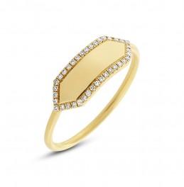 Madison E 0.11ct 14k Yellow Gold Diamond Bar ID Ring