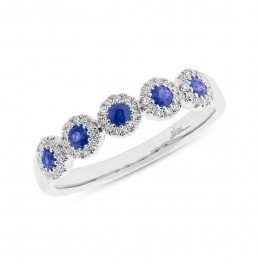 0.16ct Diamond & 0.31ct Blue Sapphire 14k White Gold Lady's Ring