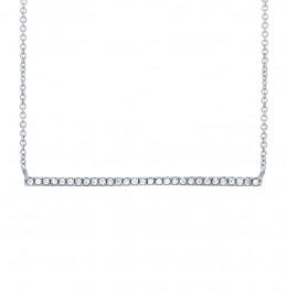 Madison E 0.08ct 14k White Gold Diamond Bar Necklace
