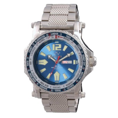PROTON World Time Never Dark® Stainless  Dial Bright Blue Stainless Bracelet