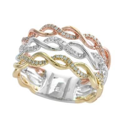 EFFY 14K Wht/Yel/Pnk Diamond Ring