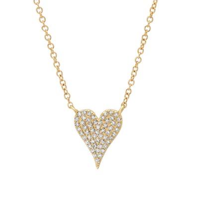 Madison E 0.11ct 14k Yellow Gold Diamond Pave Heart Necklace
