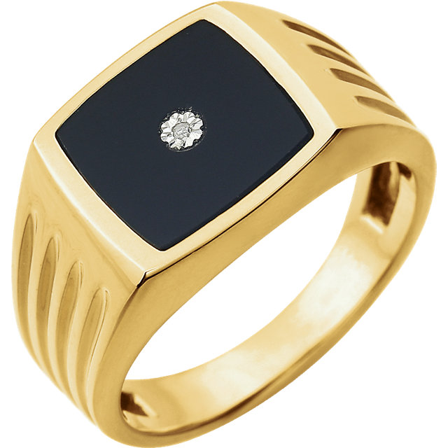 d8cfbd718401b 14kt Yellow Men-s Onyx & .004 CTW Diamond Ring - 651637-100-P
