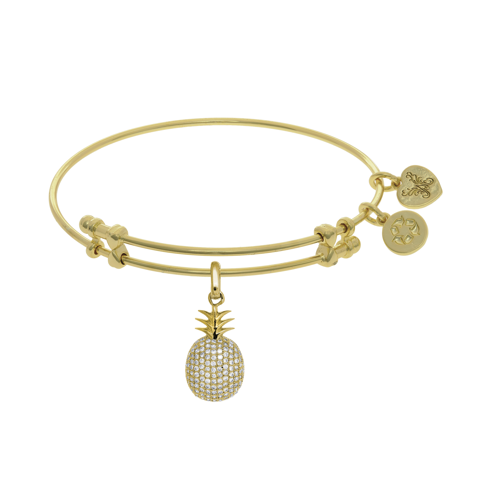Angelica Collection Yellow Brass Dancer With Dangle Shoes Charm Bangle Bracelet