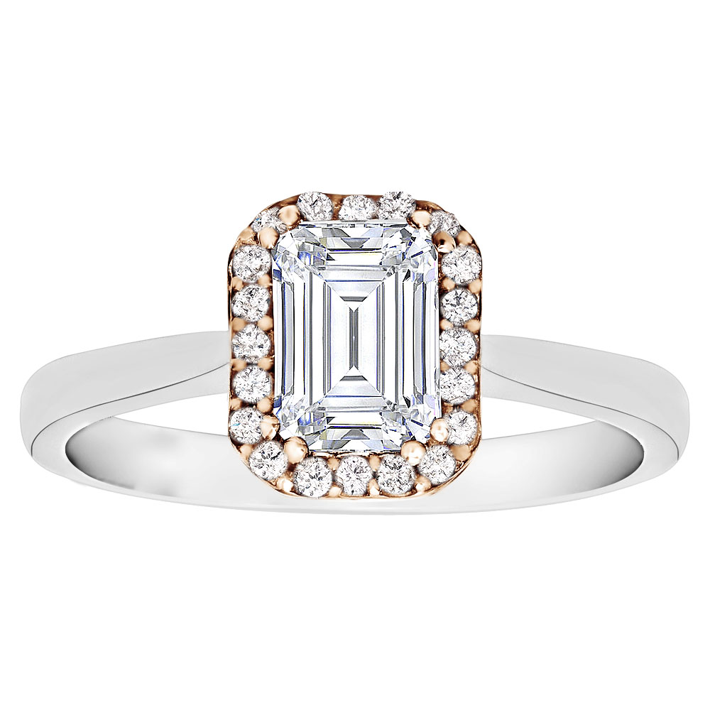Two Tone Emerald Cut Diamond Engagement Ring