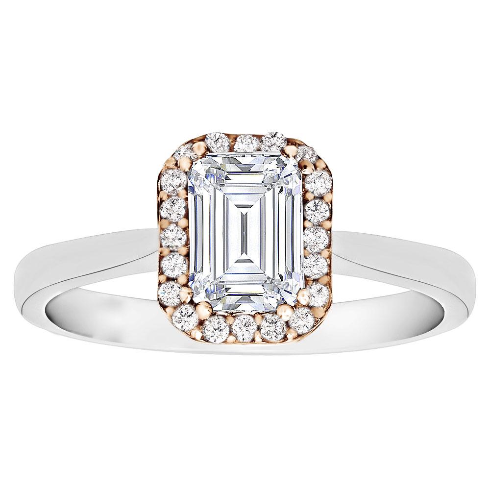 Two Tone Emerald Cut Diamond Engagement Ring