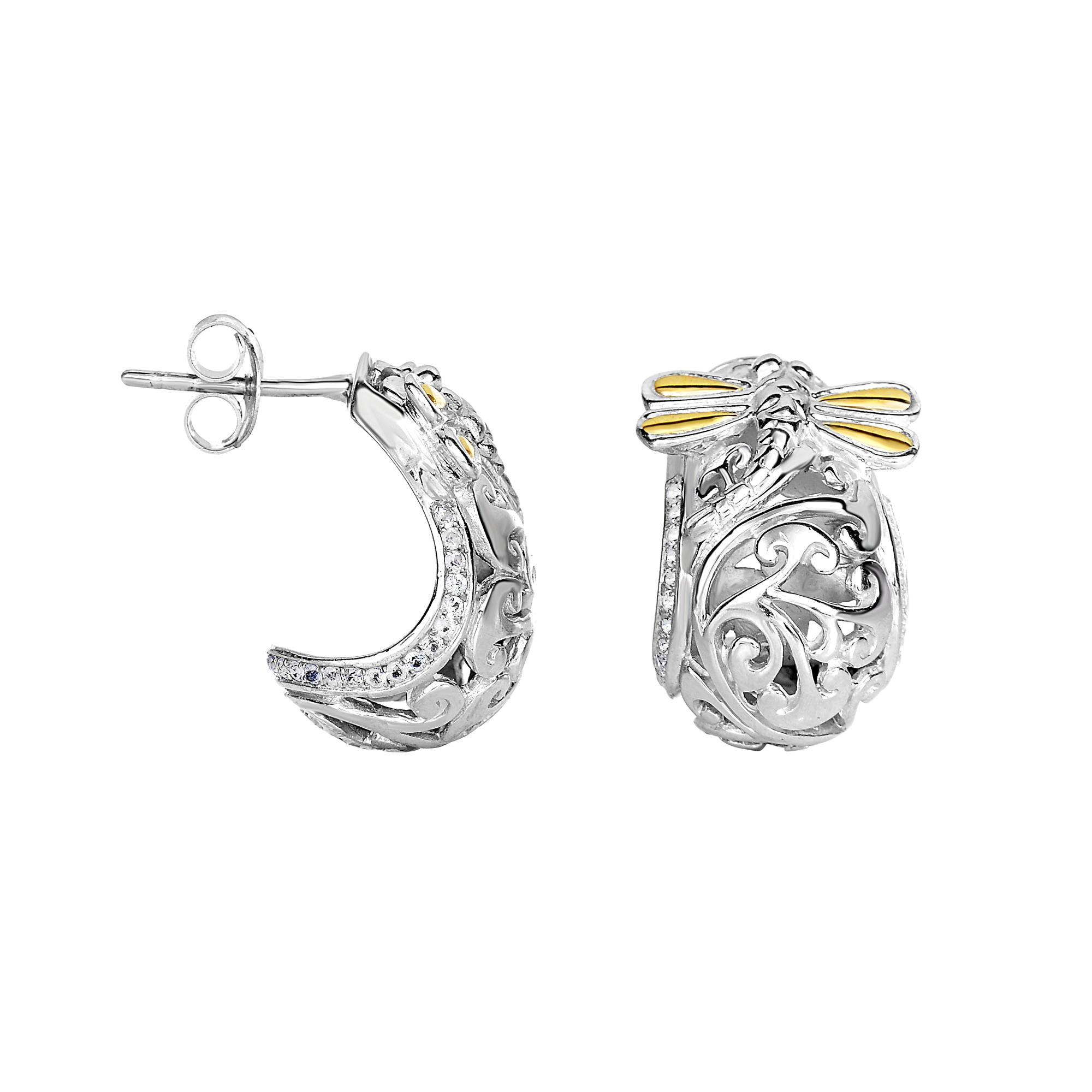 18kt Yellow Gold Silver With Rhodium Finish Shiny 18x12mm 1 2 Moon