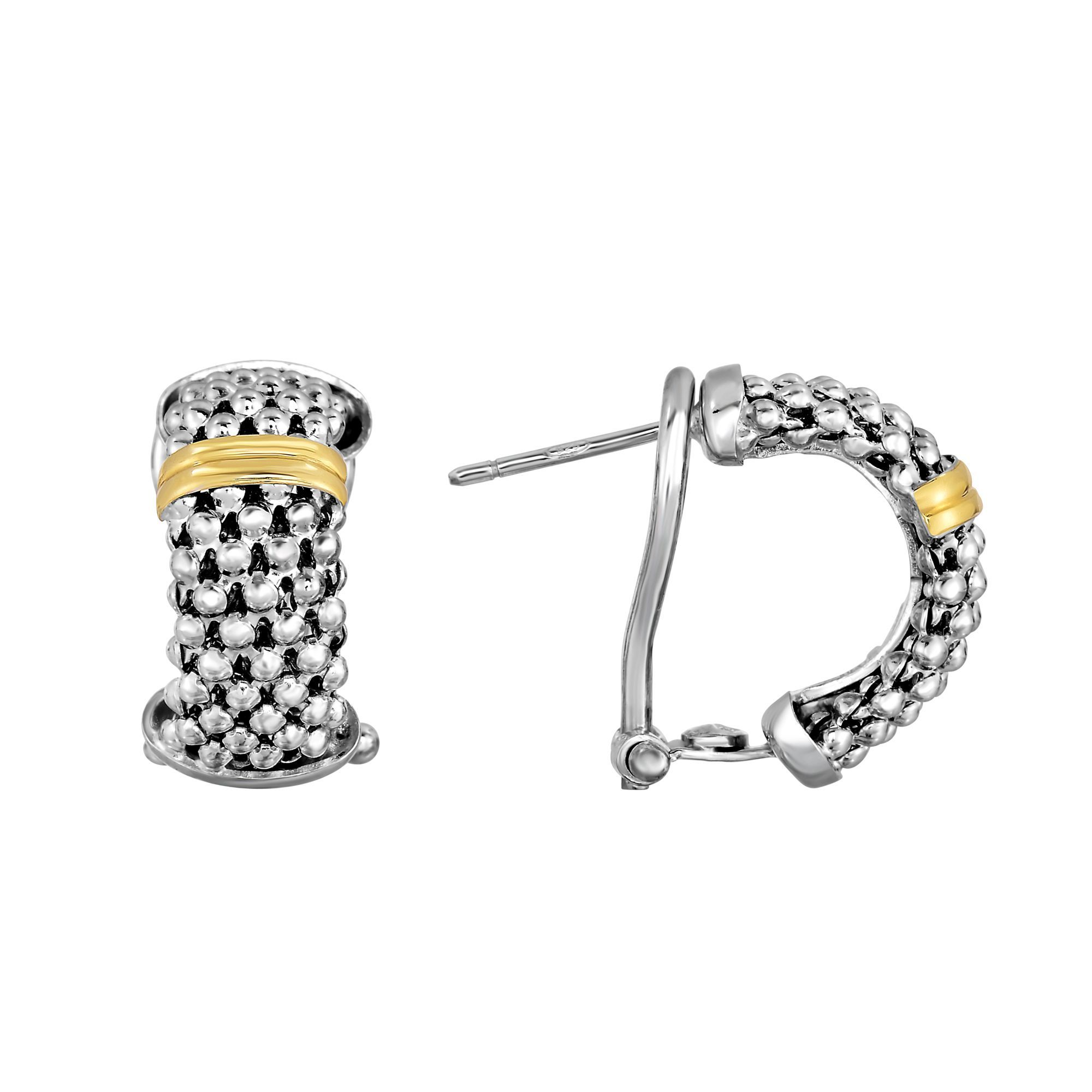 18kt Yellow Silver With Rhofium Finish 18x5mm Popc Orn Textured Half Moon Post Earring Omega Bac K Clasp Sile744